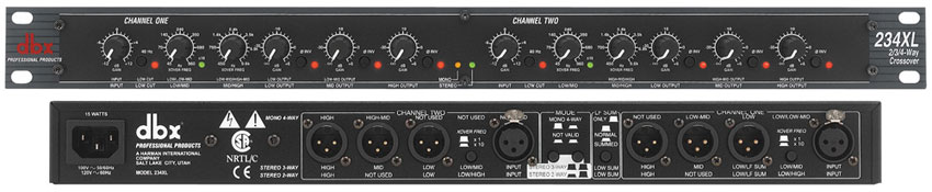 Dbx 234xs stereo 2/3 way mono 4-way crossover manual